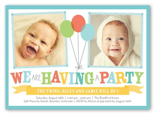 Twin Birthday Invitations