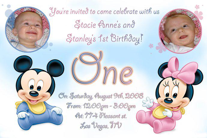Twin Mickey Minne Mouse Birthday Invitations