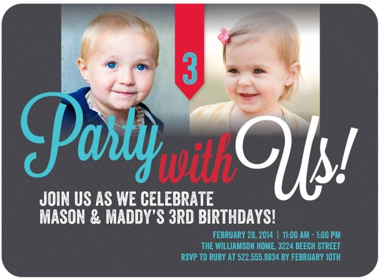 Twins Bday Party Invites