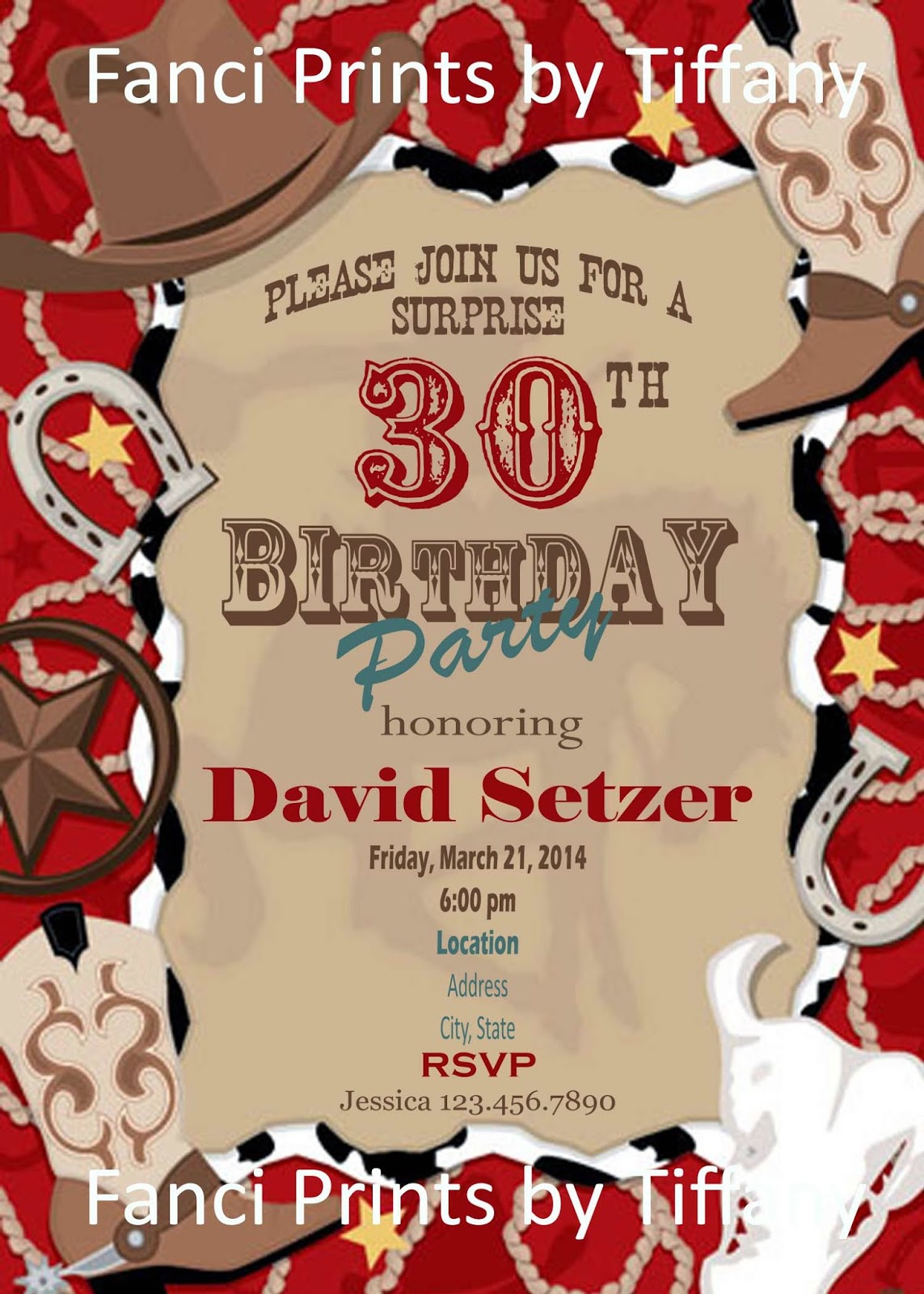 Western Theme Birthday Party Invitations