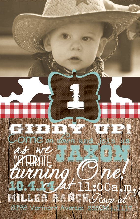 Western First Birthday Invitations
