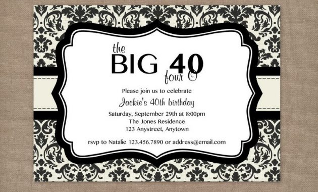 Birthday Party Invitations Templates – Sample 40th Birthday Invitation Wording