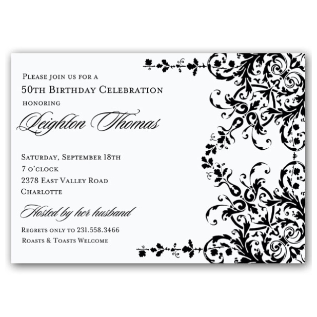 Elegant Black And White Birthday Invitations