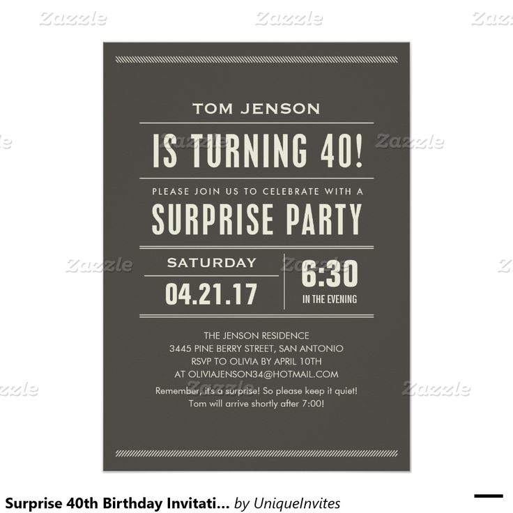 Surprise 40th Birthday Invitations