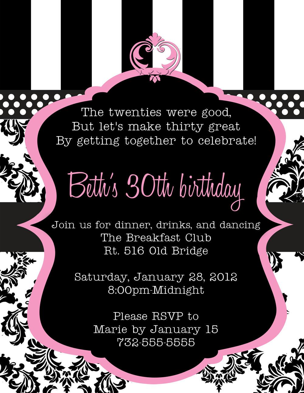 30th Birthday Invitations on moms night with a hollywood theme