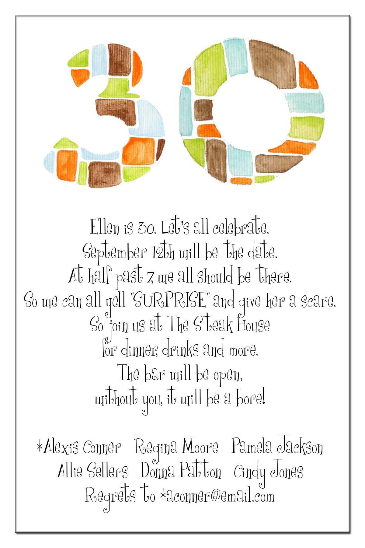 30th Birthday Invite Wording