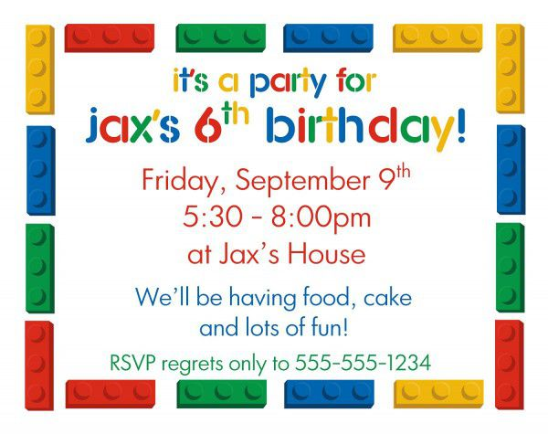 6th Lego Kid Birthday Invitation Templates