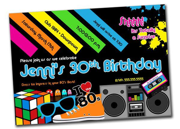80 Themed 30th Birthday Party Invitations