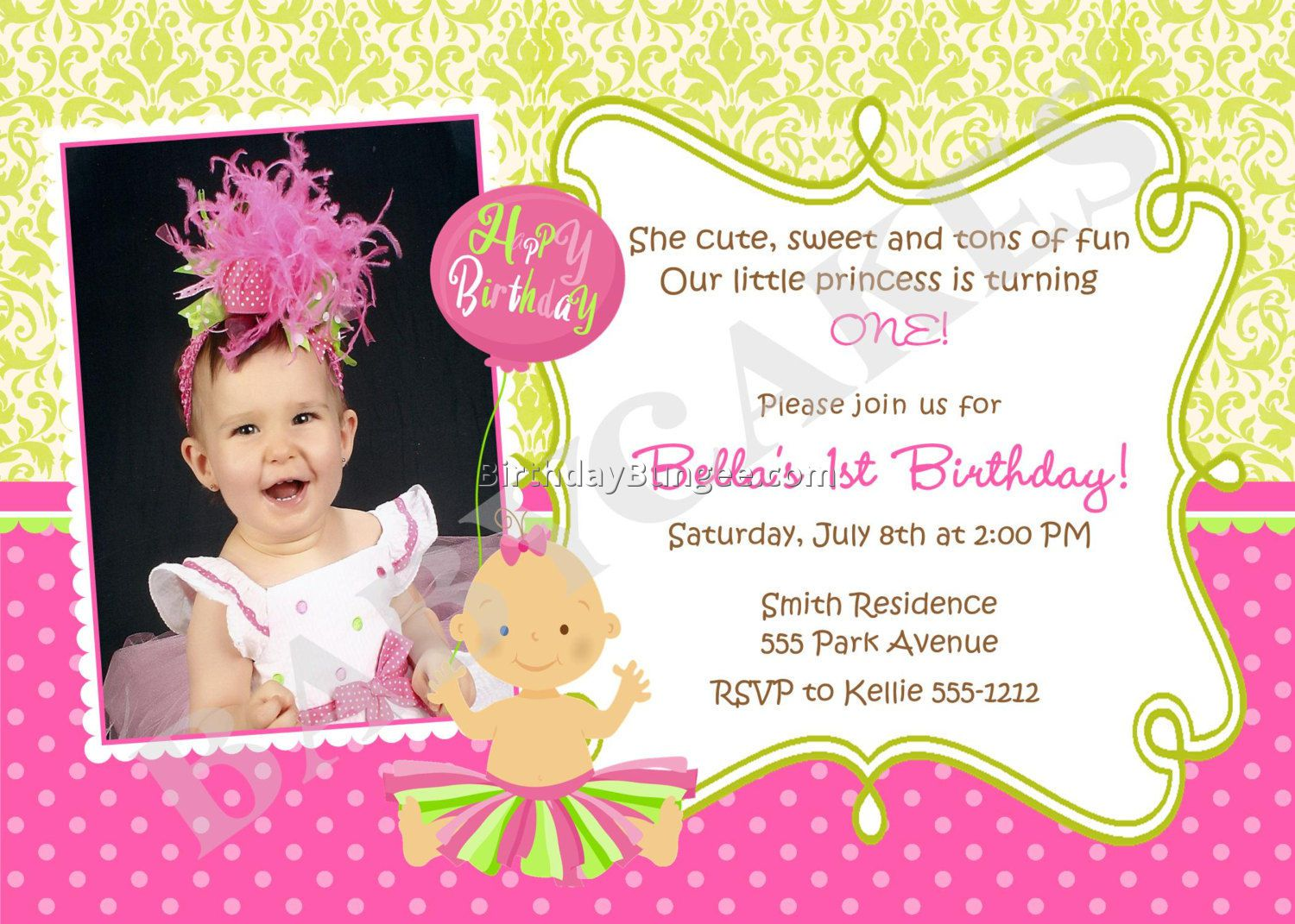 Baby Girl Birthday Invitation Wording
