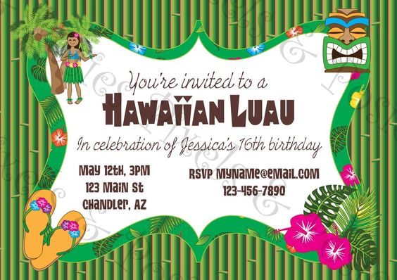 Free Printable Hawaiian Luau Birthday Party Invitations