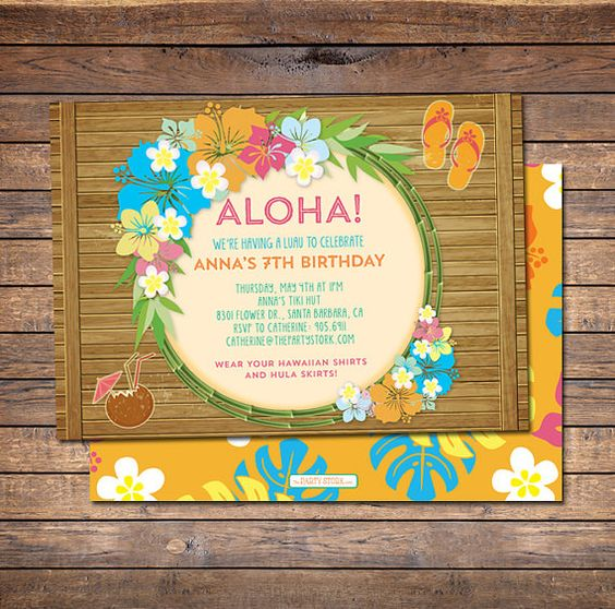 Hawaiian Birthday Party Invitations