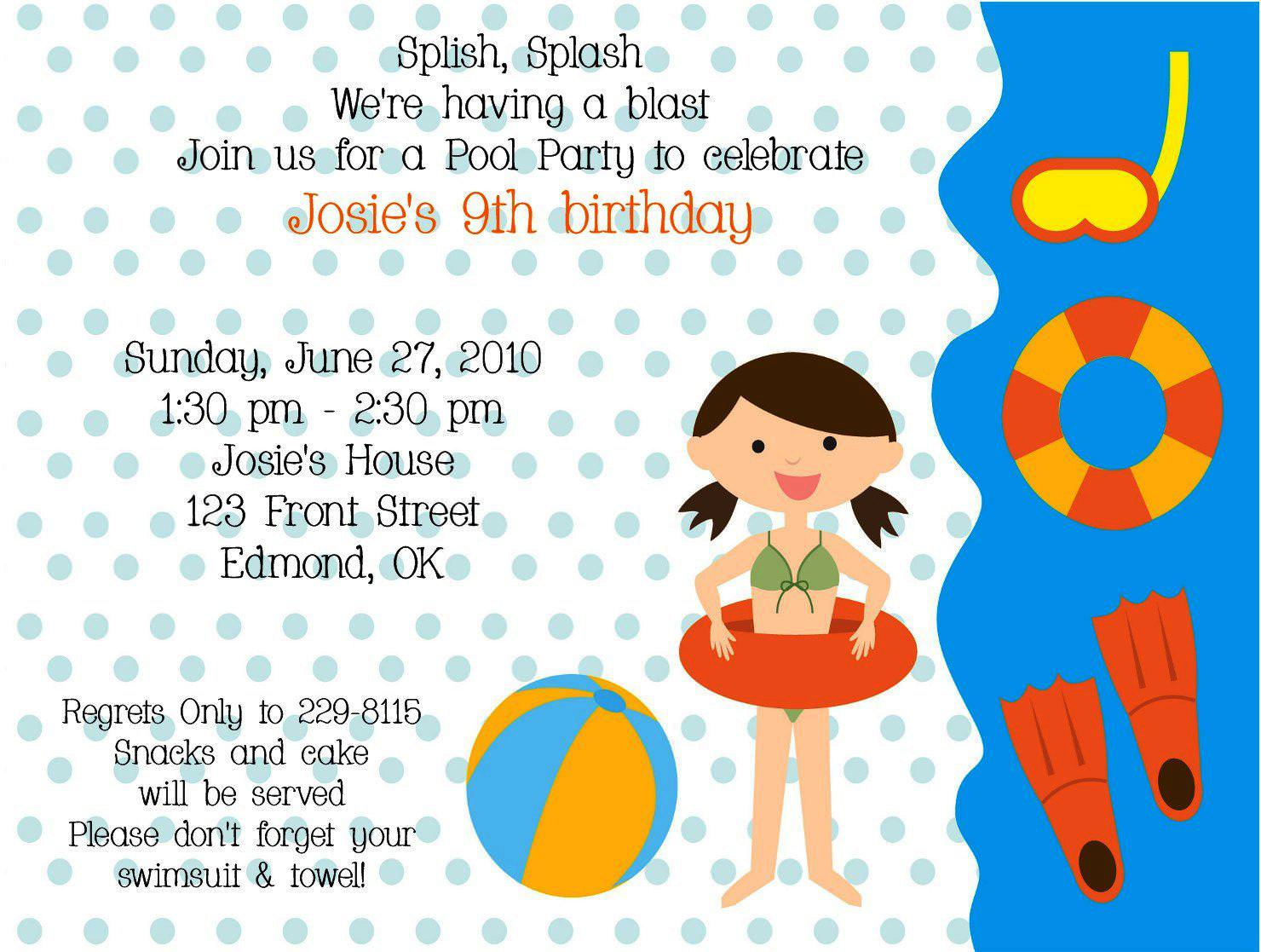 Kid Birthday Invitation Email Message