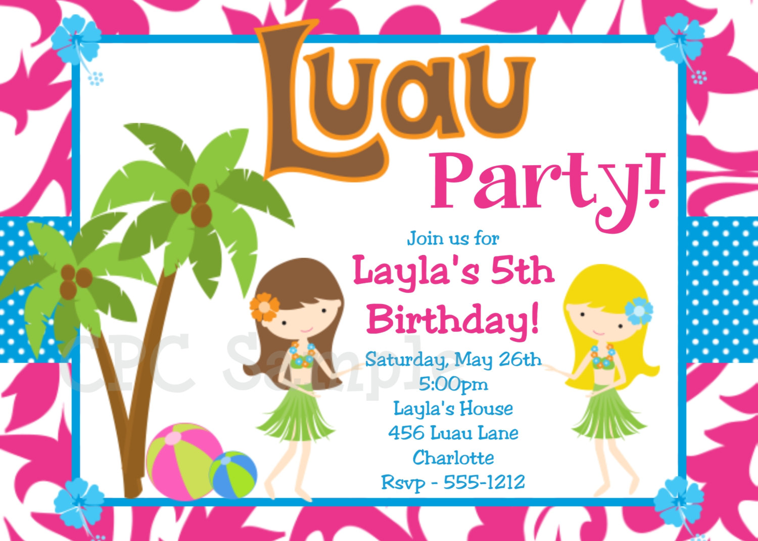 Luau Aloha Hawai Birthday Party Invitation