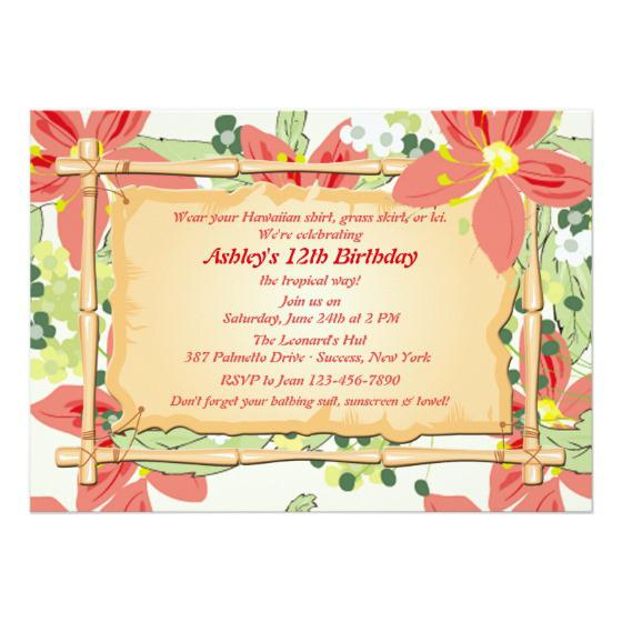 Luau Birthday Invitations Announcement
