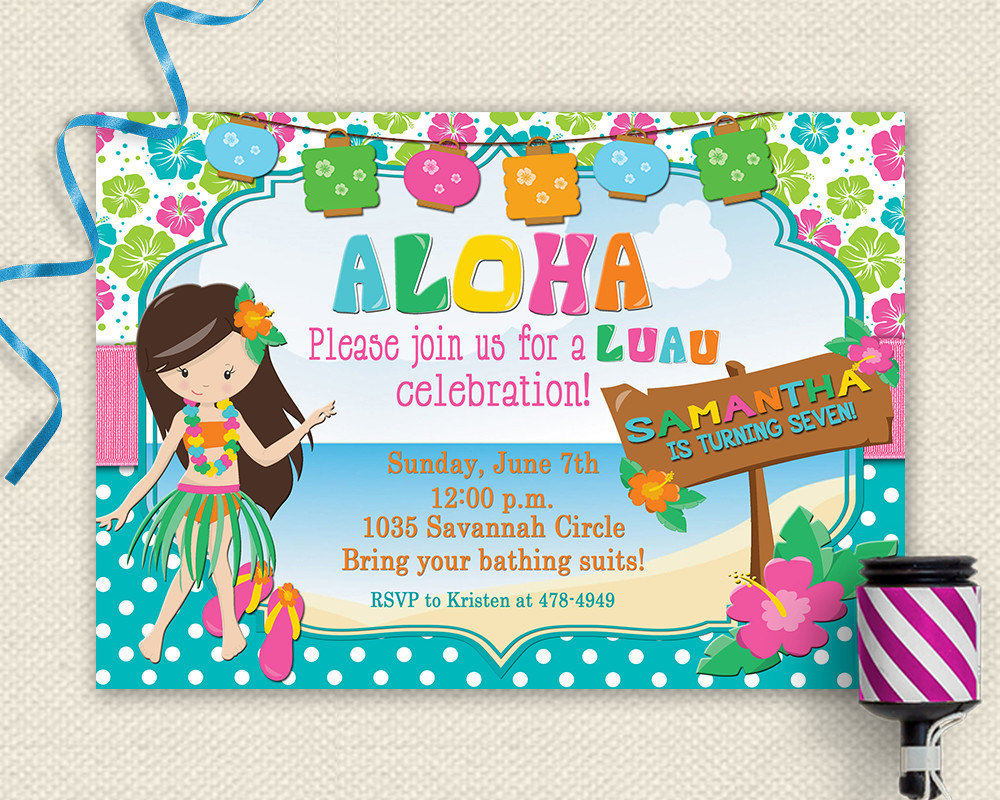 Luau Birthday Invitations Free Printable