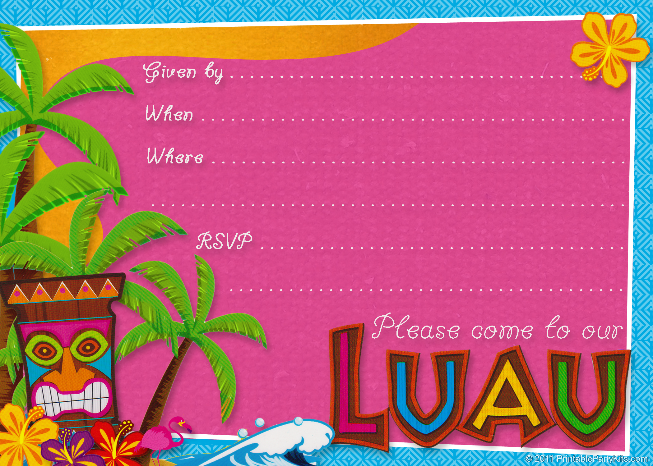 Luau Birthday Invitations Templates