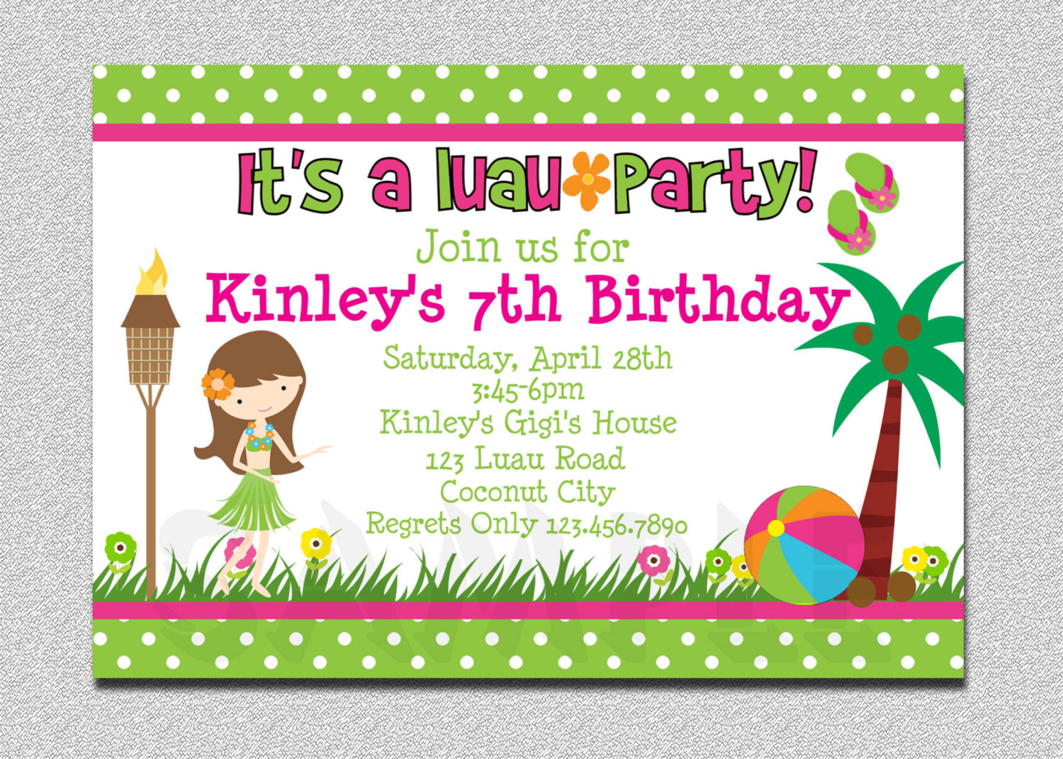 Luau Birthday Invitations Designs Birthday Party Invitations - Birthday invitation cards in french