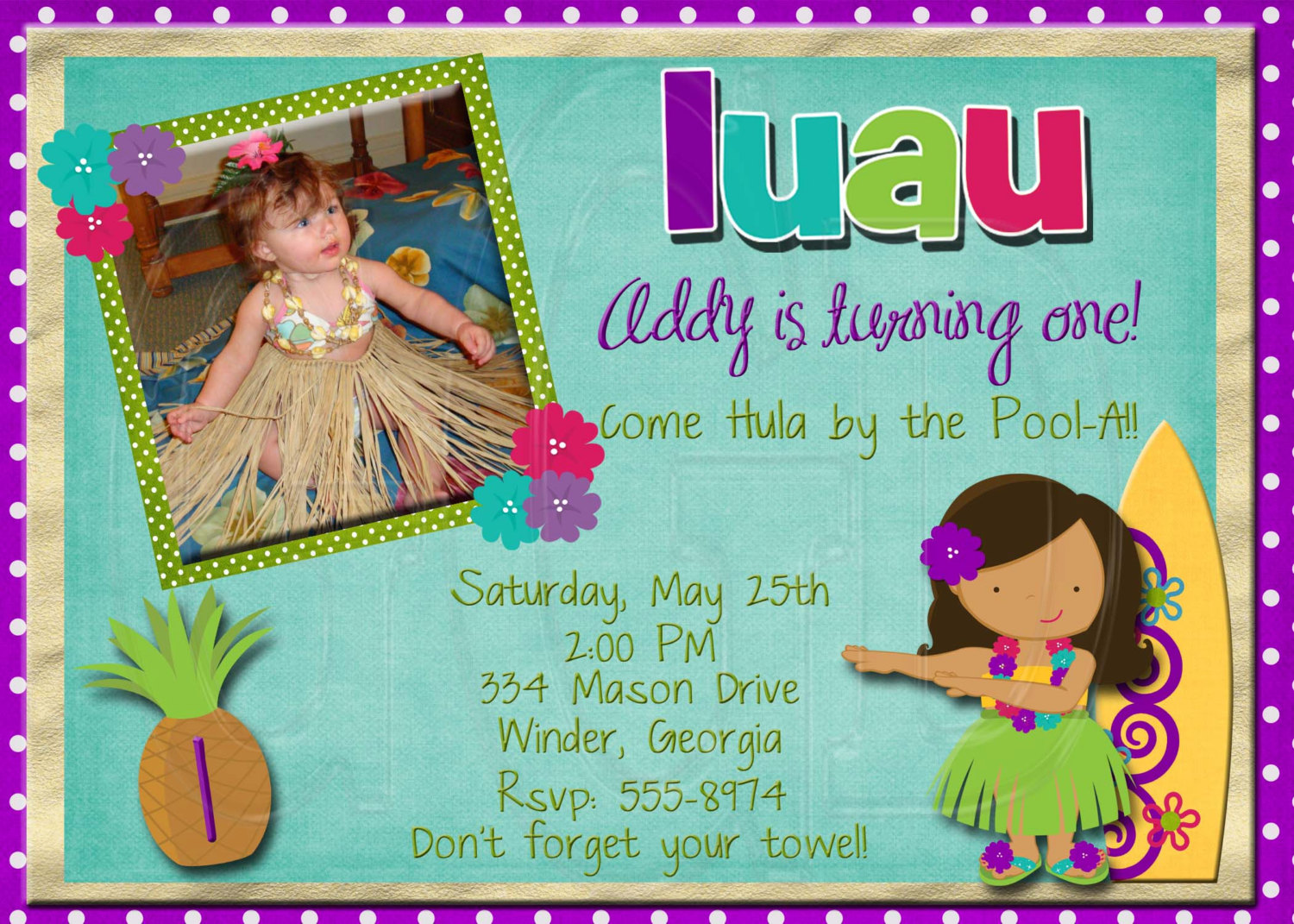 Luau First Birthday Invitations