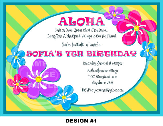 Luau Party Invitation Wording With Flower Theme