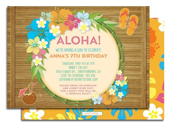 Luau Sayings For Birthday Invitations Wording