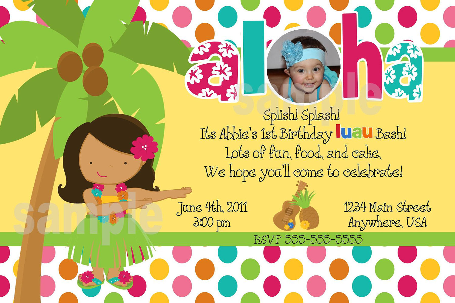 Printable Luau Birthday Invitations Sample