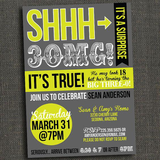 Surprise 30th Birthday Invitations