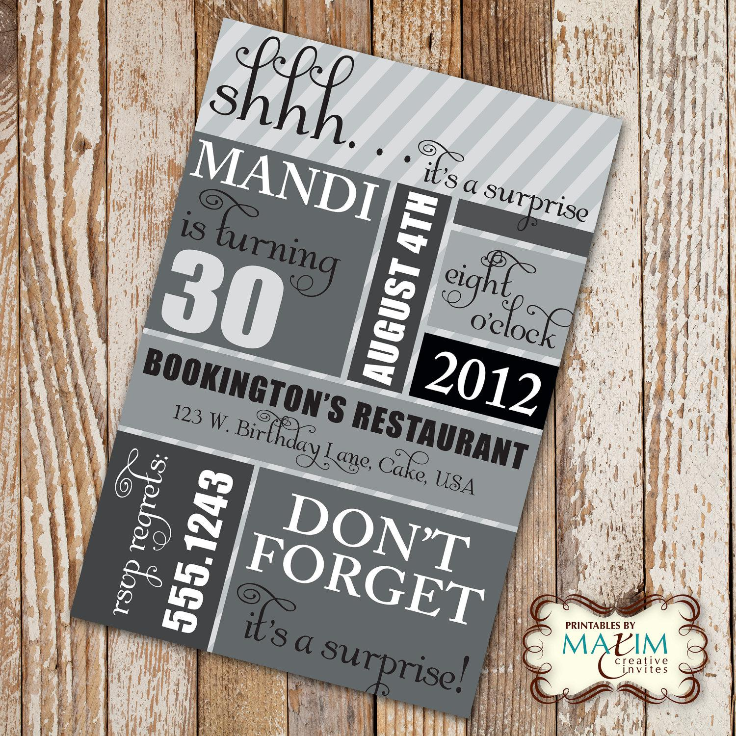 Surprise 30th Birthday Party Invitations