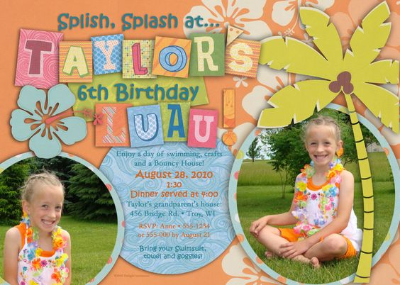 Unique Luau Birthday Party Invitation Ideas
