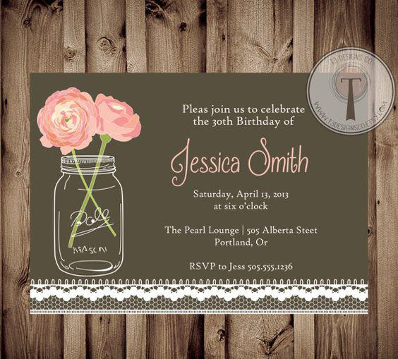 Vintage 30th Birthday Invitations