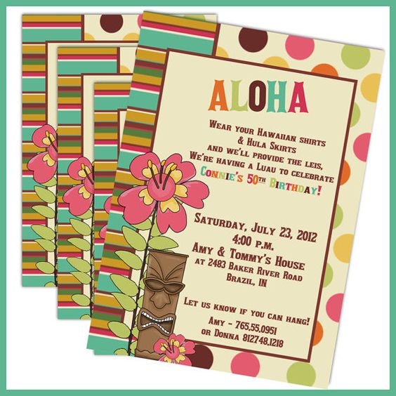 luau birthday party invitations