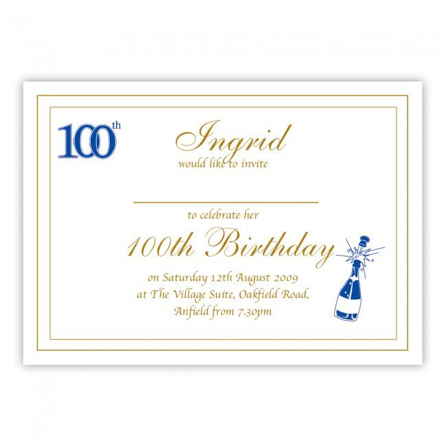 100th Birthday Celebration Invitations