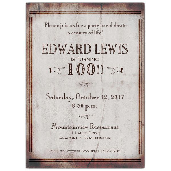 100th Birthday Invitation Templates Free
