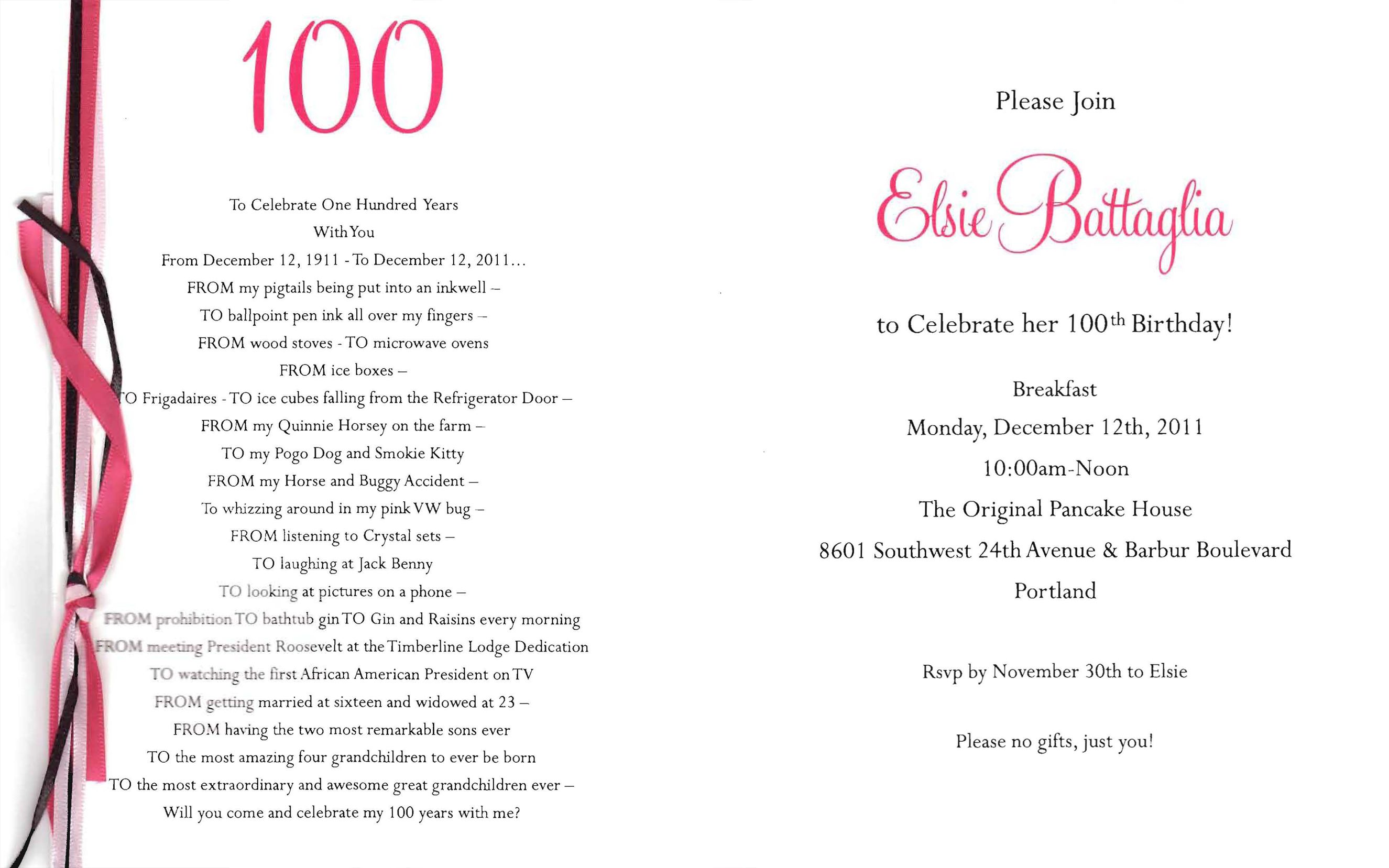 100th Birthday Invitations Cards