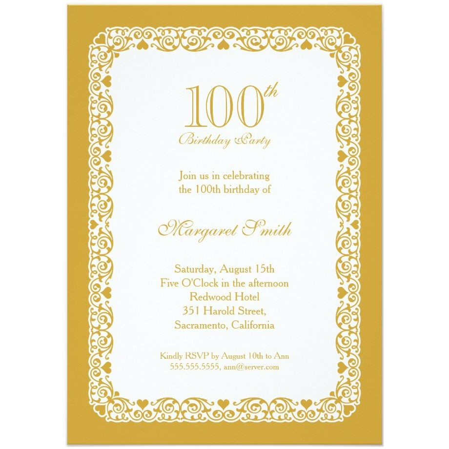 100th Birthday Invitations Ideas