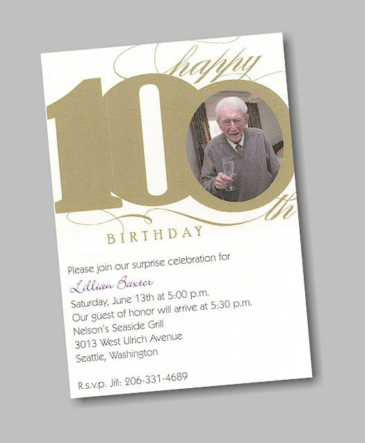 100th Birthday Invitations Template