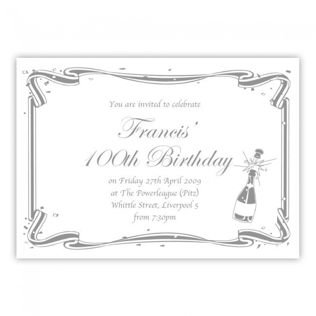 100th Birthday Party Invitations Free