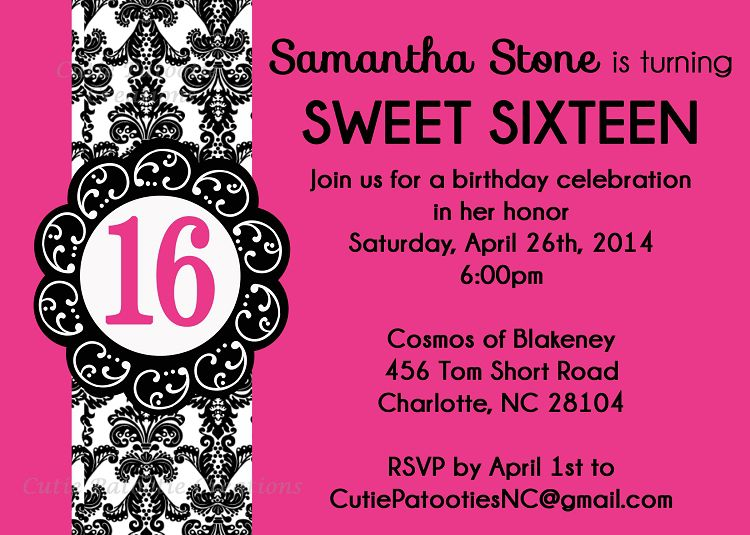 16th Birthday Invitations Printable