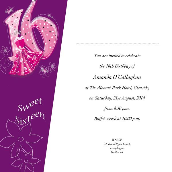 16th Birthday Invitations Templates
