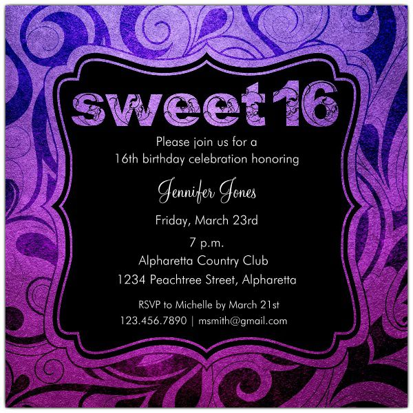 16th Birthday Invitations Wording