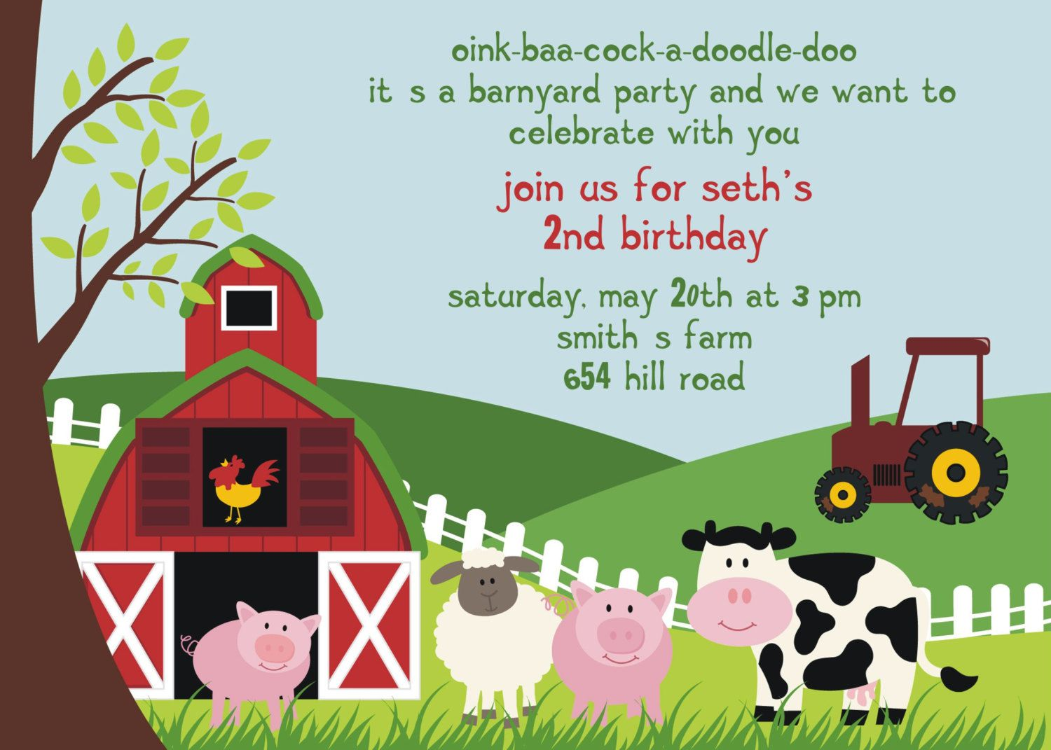1st Birthday Farm Themed Invitations