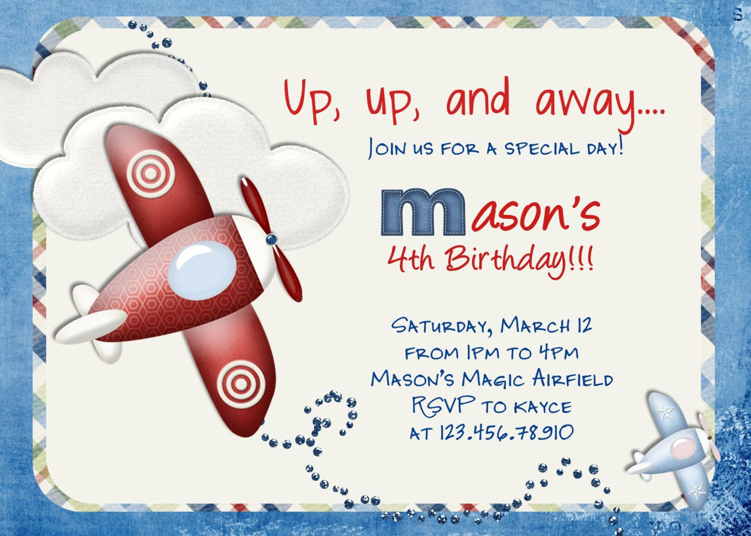 Airplane Birthday Invitation Template
