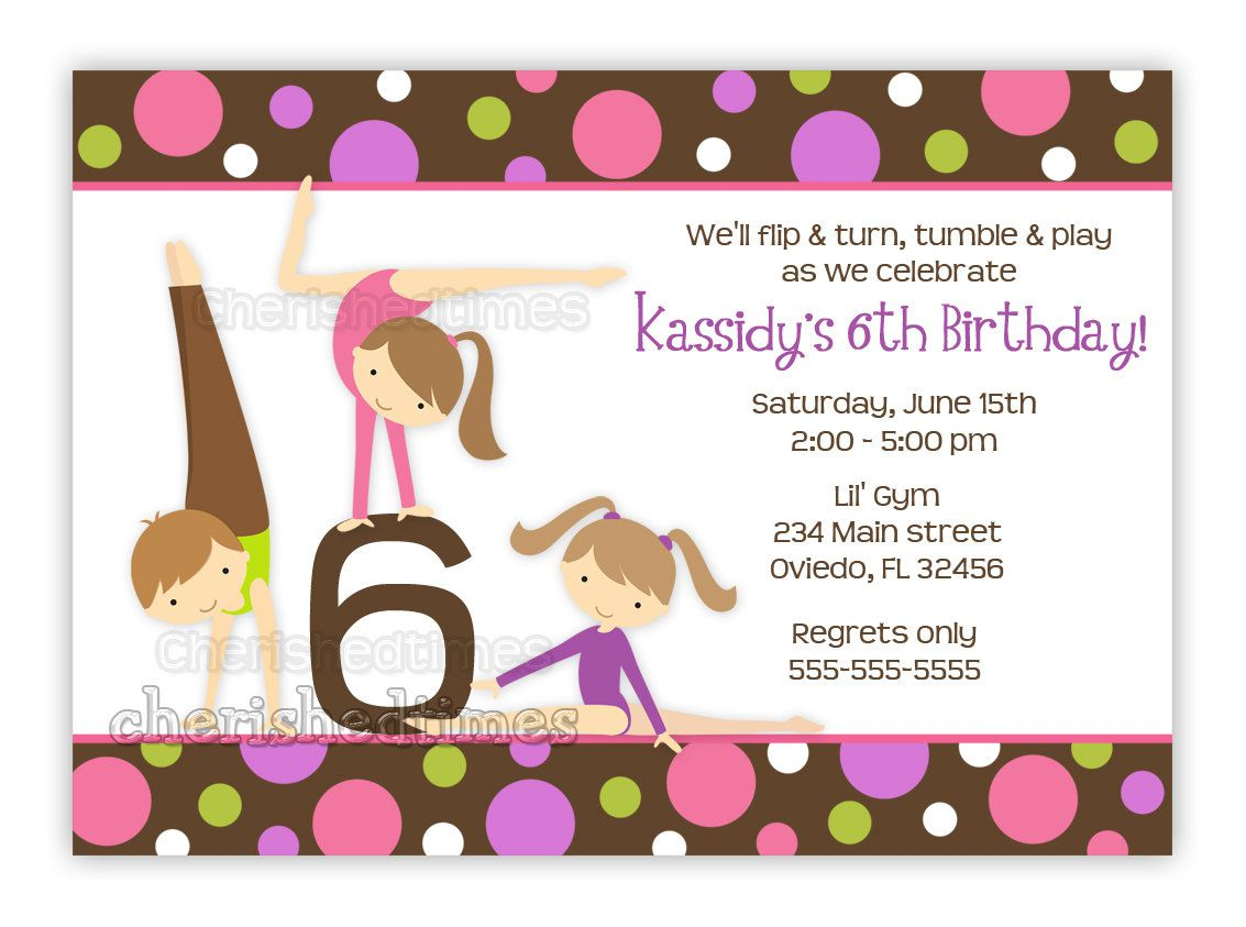 Birthday Invitations For A Gymnastics Party