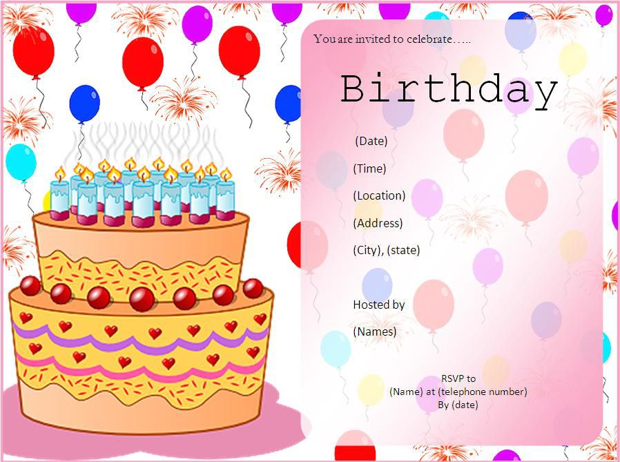 Birthday Invite Template Text