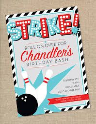 Bowling Alley Birthday Party Invitations