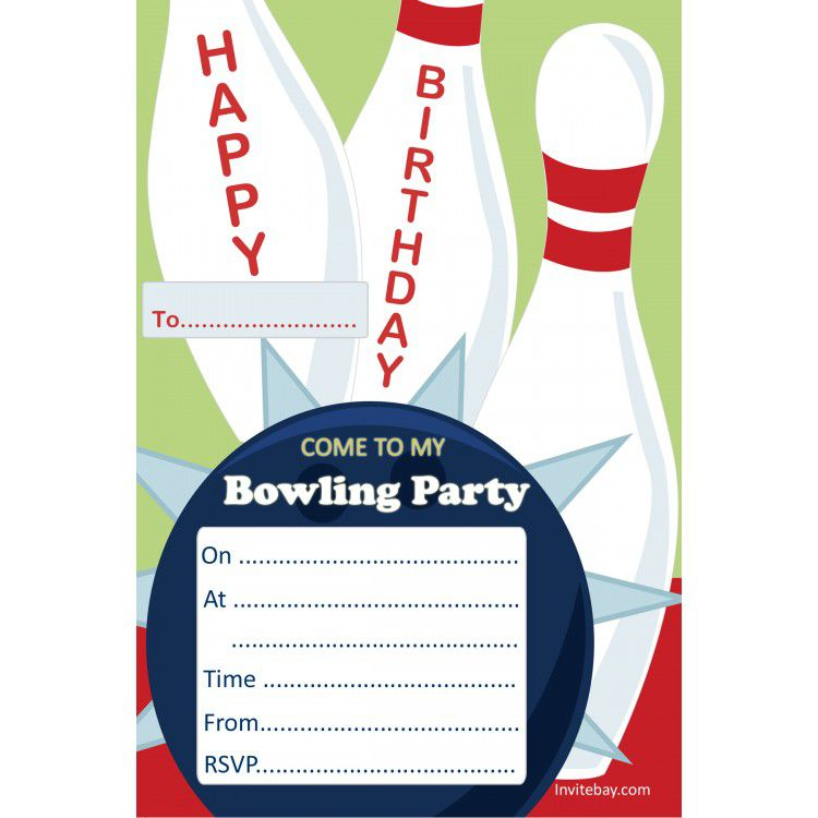 Bowling Bday Party Invitations