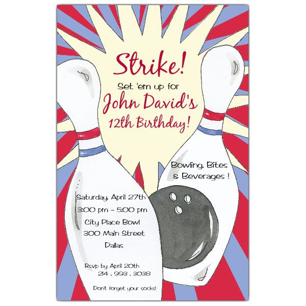 Bowling Birthday Party Invitations Printable Free