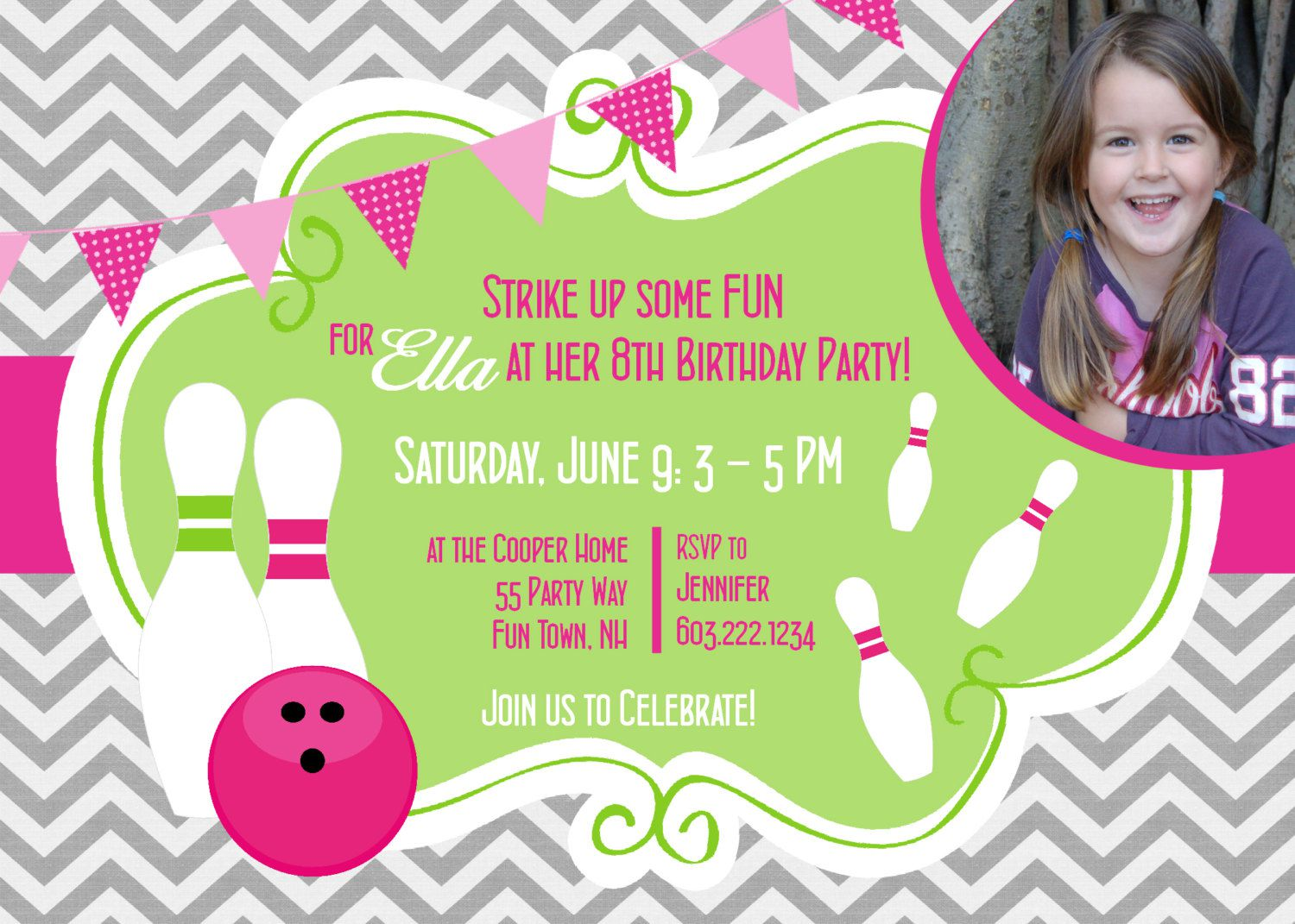 Bowling Birthday Party Invitations Template