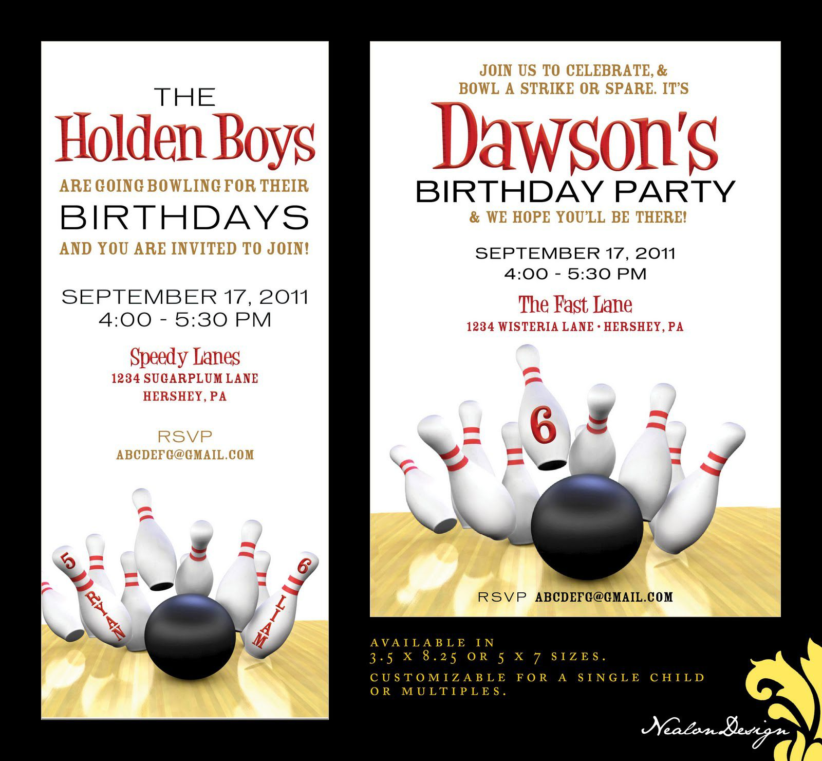 Bowling Birthday Party Invitations Wording