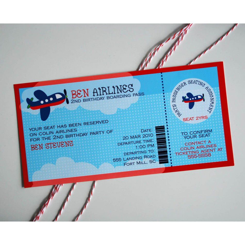 Boy Airplane Birthday Invitations