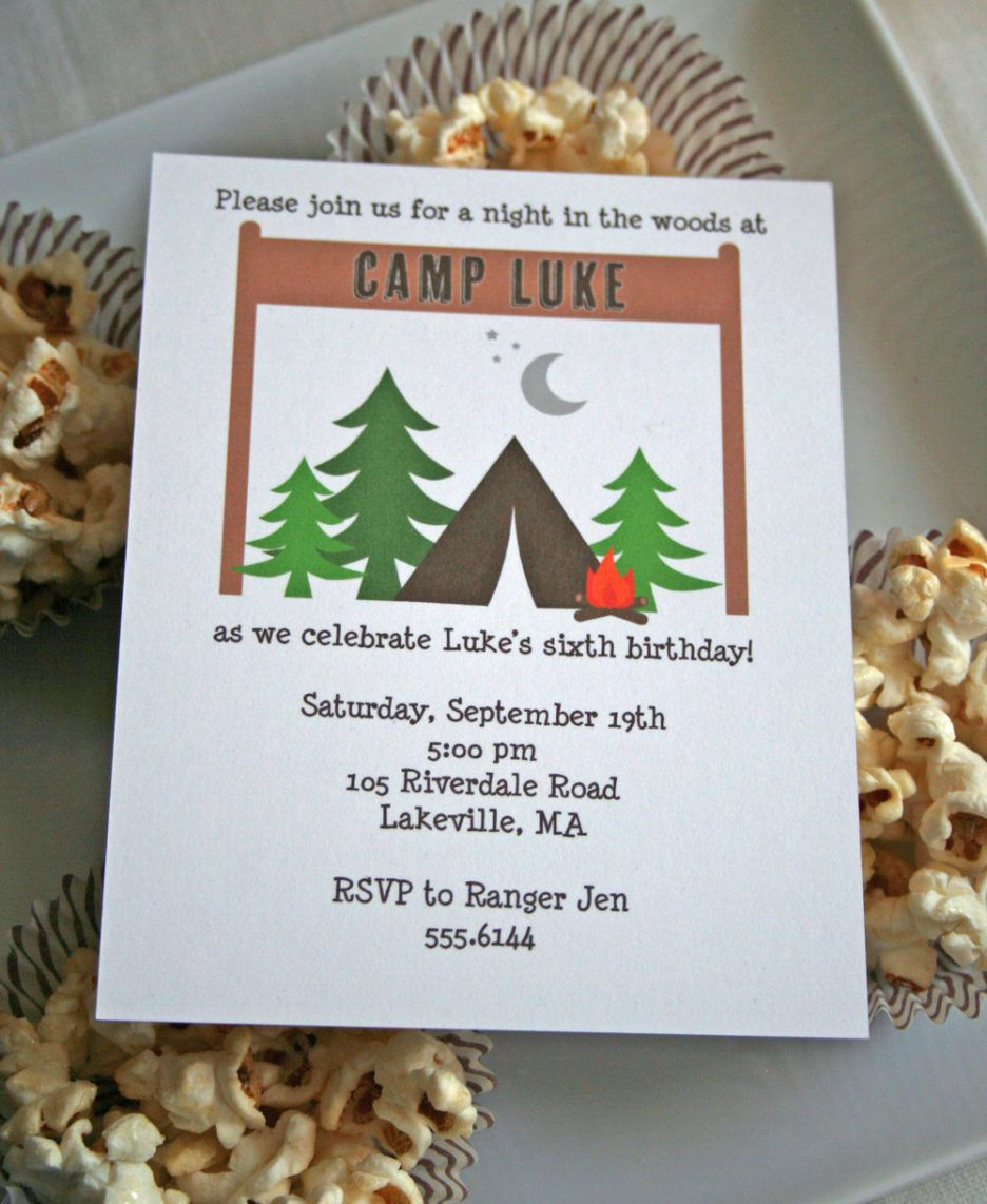 Boy Camping Birthday Invitations